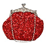 Chicastic Fully Sequined Mesh Beaded Antique Style Formal Cocktail Clutch - Red