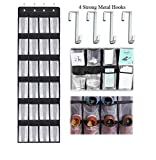 Over the Door Hanging Shoe Organizer, 24 Large Mesh Pockets Shoes Storage and Closet Organizer With 4 Unique Customized Strong Metal Hooks for Kitchen Accessory Holder - Space Saving Solution(Black)