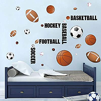 decalmile Sports Wall Decals Boys Wall Stickers Soccer Baseball Football Hockey Basketball Wall Art for Boys Room Playroom Kids Room Wall Decor