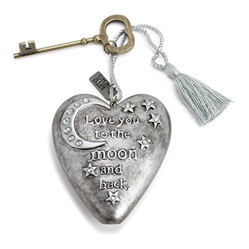 DEMDACO To the Moon Silver Tone 4 x 3 Heart Shaped Resin Keepsake Decoration ()