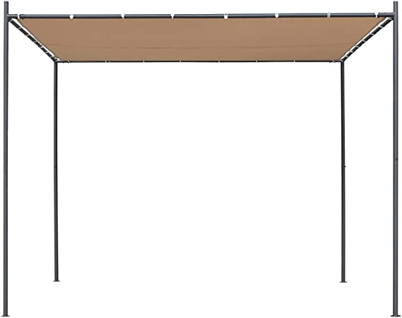 vidaXL Cenador con Tejado Plano de Jardín 3x3x2,4 m Beige Carpa ...