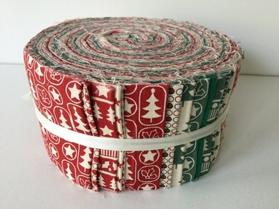 43 piece jelly roll scandi christmas red green pink fabric quilting patchwork quilting bundle