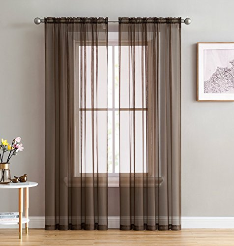 HLCME Chocolate Brown 2 Pack 55 inch by 84 inch Window Curtain Sheer ()