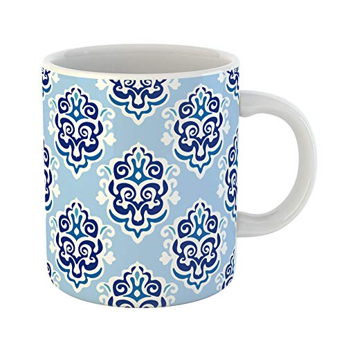 Emvency Coffee Tea Mug Gift 11 Ounces Funny Ceramic Blue Ikat Damask Floral Paisley Pattern Abstract Gifts For Family Friends Coworkers Boss Mug