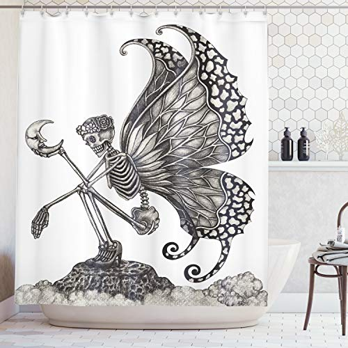 Lunarable Surrealistic Shower Curtain, Dead Woman Skeleton Skull with Butterfly Wings Holding The Moon Sadness Icon, Fabric Bathroom Decor Set with Hooks, 105 Inches Extra Wide, Grey White]()