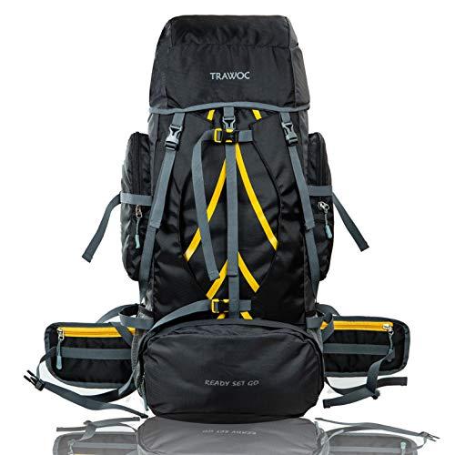 TRAWOC 60 Ltr Travel Rucksack Bag Hiking Trekking Backpack, Black