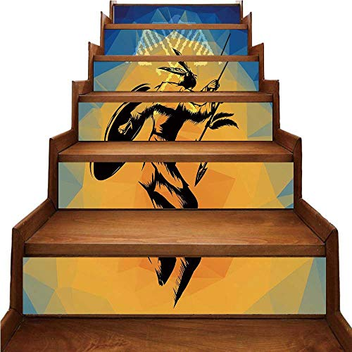 TecBillion Native American Nice Stairs Sticker,War Dance Ritual Against Ancient Totem Poly Effect Triangles Abstract for Home,39.3