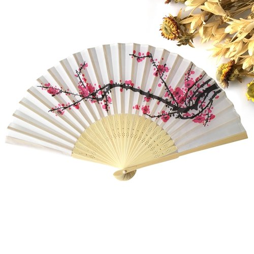 Skuleer(TM) 10pcs Japanese Flower Floral Fabric Cherry Blossom Folding Hand Wedding Favor Fan[ 10pcs (Printed Fans Favors)