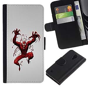 SAMSUNG Galaxy S4 IV / i9500 / SGH-i337 , la tarjeta de Crédito Slots PU Funda de cuero Monedero caso cubierta de piel ( Superhero Villain Red Paint Art Spider Comic)
