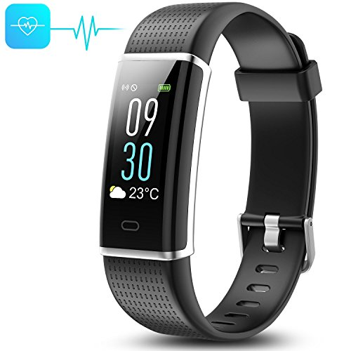 Cood Fitness Tracker, N3 Activity Tracker: Heart Rate and Sleep Monitor, Bluetooth Fitness Wristband Bracelet, Waterproof Smart Wristband for Android & IOS (Black Monochrome Monitor)