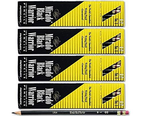 Black Wood Pencils (Mirado Black Warrior Woodcase Pencil Nontoxic, HB #2, Black Matte Barrel, Dozen, Sold as 4 Packs of 12, Total of 48 Each)