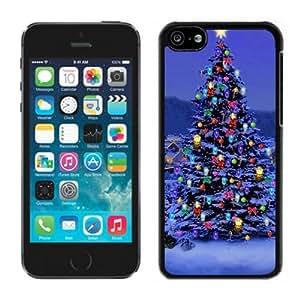 Iphone 5C Case,Colorful Decoration Christmas Tree Iphone 5C Black Plastic Case,Apple 5C Cover Case
