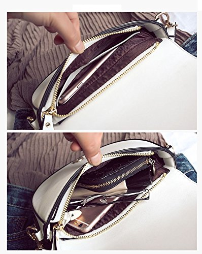 femmes Black en bandoulière Messenger fourre sac main de lune selle à clouté sacoche Messenger forme Anneau sacs de demi de tout Rq85xH