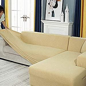 Youjoy Housse de Canapé d'angle avec Accoudoirs Housse de Canapé Modèle L Canapé Protecteur Extensible