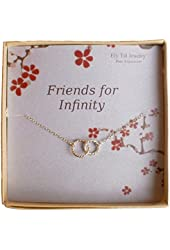 Infinity Necklace, Two Tone Interlocking Circles in Sterling Silver and Gold Filled, Bridesmaid Gift