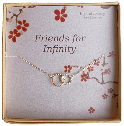 Infinity Necklace, Two Tone Interlocking Circles in Sterling Silver and Gold Filled, Bridesmaid (Brass Link Chain Circle Necklace)