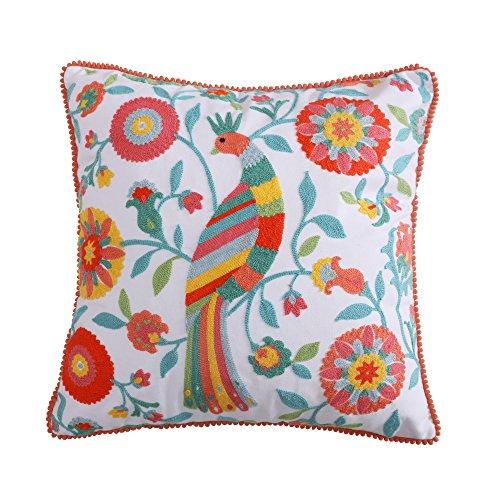 Pillow Crewel Cotton - Laurel Coral Crewel Poms Multi Bird Pillow