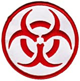 Biohazard Symbol Embroidered Patch Iron-On Danger Symbol Red-on-White Logo, Bags Central