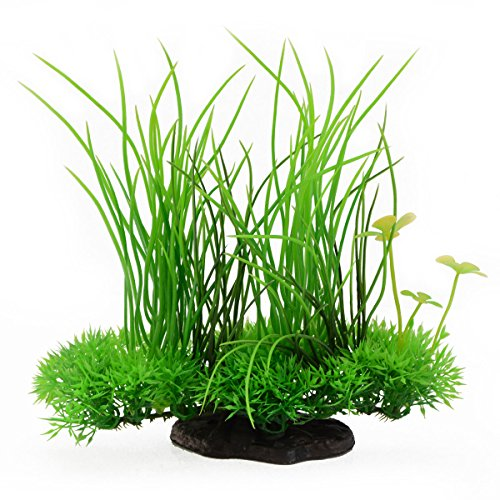 Saim Plastic Artificial Aquarium Long Leaf Plant Decor Fish Tank Ornament Green Yellow 7.9