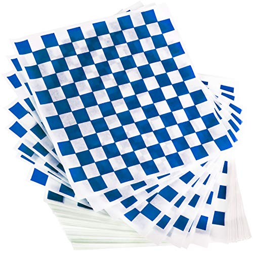 Avant Grub Deli Paper 300 Sheets. Turn Your Backyard Cookout Party into Oktoberfest with Blue & White Checkered Food Wrapping Papers. Grease-Resistant 12x12 Sandwich Wrap Prevents Food - Grease Food