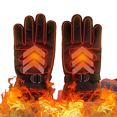 Heated Gloves, Touch Screen Rechargeable Battery Heates Both Finger and Hands Back Heated Gloves for Men Women