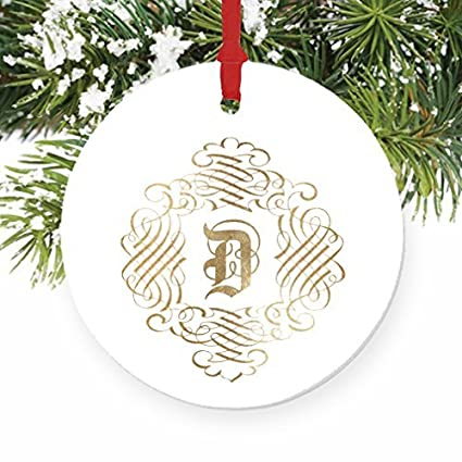 d monogram family name d initial christmas ornaments wedding anniversary christmas keepsake xmas tree decorations gift