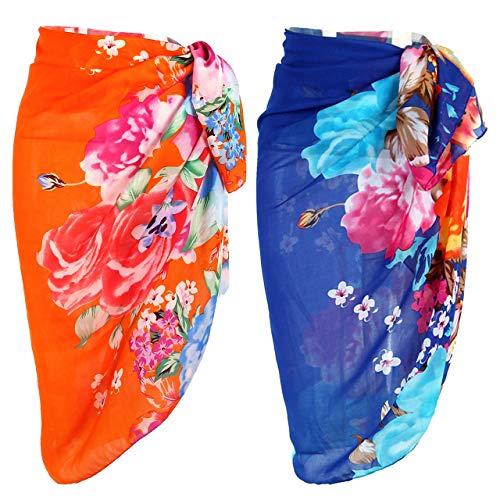 Ayliss Womens Swimwear Chiffon Printed Cover up Beach Sarong Pareo Bikini Swimsuit Wrap (One Size, 19+#20 (57