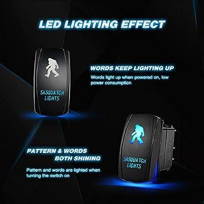 Nilight SASQUATCH LIGHTS Rocker Switch 5Pin Laser On/Off LED Light 20A/12V 10A/24V Switch jumper wires set for Jeep Boat Trucks,2 years Warranty: Automotive