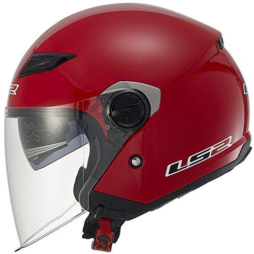 LS2 Helmets 569 Track - Casco de moto con parasol, cara abierta sólida, Rojo, XS