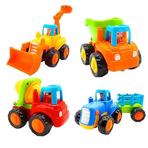 Friction Powered Cars, Push and Go Toy Trucks Construction Vehicles Toys Set for 1-3 Year Old Baby Toddlers- Dump Truck, Cement Mixer, Bulldozer, Tractor, Early Educational Cartoon ( Set of -