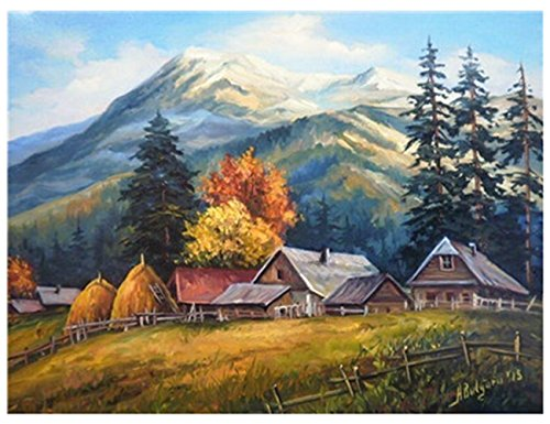 DIY Oil Painting,Katosca Adults and Kids Paint by Number Kits Drawing Decoration on Canvas 16x20inch (Mountain Village)