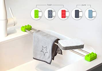 Sanni Shoo drip.line – multifunktionaler Abtropfer, Spültuchhalter,  Schwammhalter, Spülen Caddy, Ordnungshelfer für die Küche (Grün, Fresh)