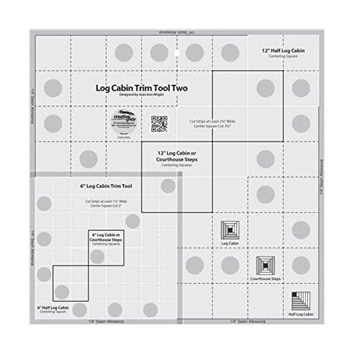 Creative Grids Log Cabin Trim Tool Two for 6'' and 12'' Finished Blocks Quilting Ruler Template CGRJAW2 by Creative Grids