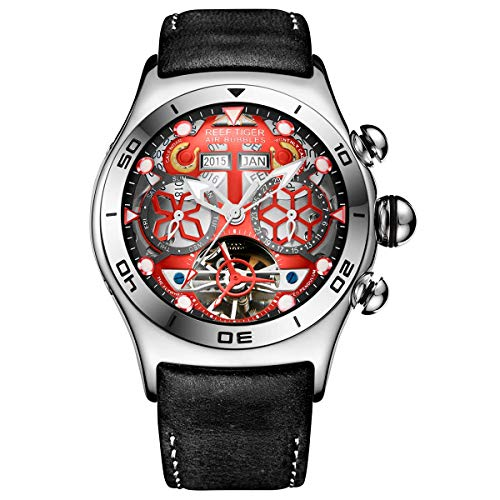 (Reef Tiger Sport Mens Tourbillon Watch Multi-Functional Red Skeleton Dial Watch RGA703 (ORGA703-PRB))