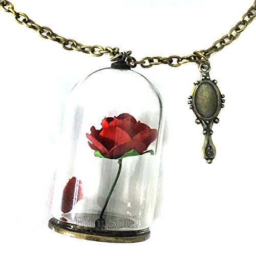 Beauty Belle Rose Necklace - Beast Rose Glass Pendant Necklace for Womens