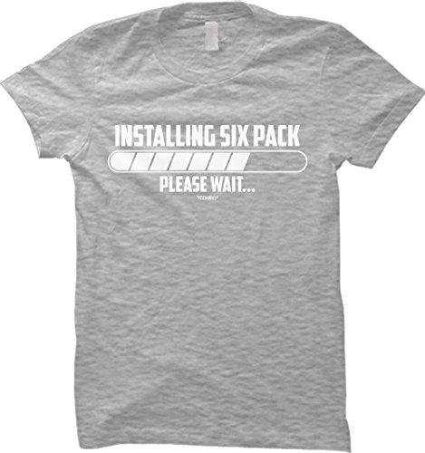 Installing Six Pack - Please Wait - Gym WOMENS T-shirt (Small, LIGHT GRAY)