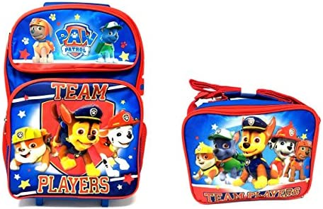"""Team Paw Patrol Set of Deluxe 16\"""" Rolling Large Backpack and Matching Lunchbox"""