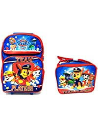 """Team Paw Patrol Set of Deluxe 16"""" Rolling Large Backpack and Matching Lunchbox"""