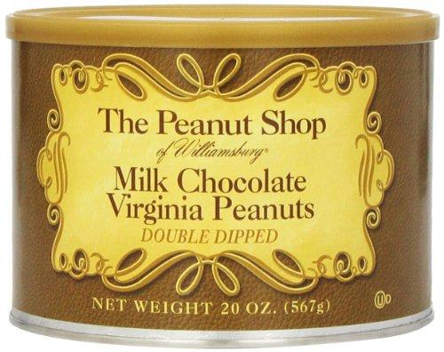 The Peanut Shop of Williamsburg Milk Chocolate Covered Virginia Peanuts, 20-Ounce Tin (Virginia Chocolate)