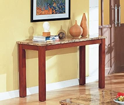 Amazon Com Granite Top Cherry Finish Wood Base Sofa Console Table