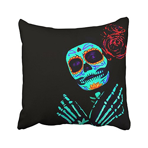 Emvency Decorative Throw Pillow Covers Cases Young Girl in The Santa Muerte Saint Death Sugar Skull Bright Make up Studio Neon 16x16 inches Pillowcases Case Cover Cushion Two Sided