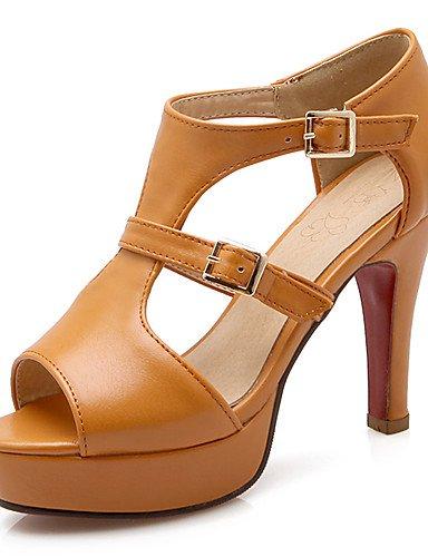 965ba6c9 LFNLYX Zapatos de mujerTacón RobustoPunta Abierta / PlataformaSandaliasBoda  / Vestido / Fiesta y NocheSemicueroAmarillo / Blanco / Gris Gray