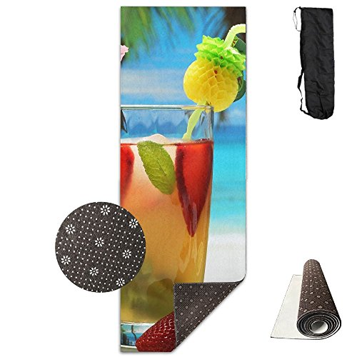 (Non Slip Yoga Mat Fruity Cocktail Photography Art Premium Printed 24 X 71 Inches Great For Exercise Pilates Gymnastics Carrying)