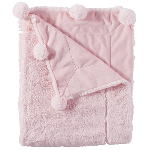 - Mud Pie Pom Pom Velour Baby Blanket, Pink