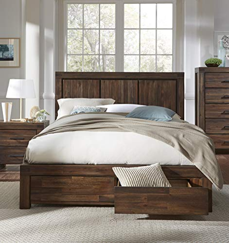 - Modus Furniture 3F41D5 Meadow Queen Solid Wood Footboard Storage Bed, Brick Brown
