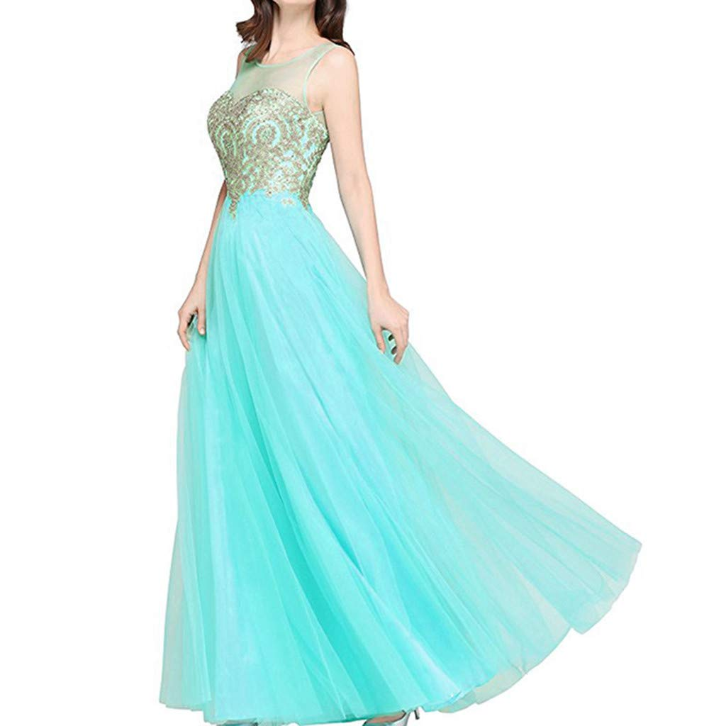 Formal Prom Party Dresses Ball Gown Scoop Wedding Bridesmaid Tulle Long Evening Dress for Women Green