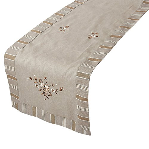 Juvale Table Runner - Cotton Dresser Scarf with Floral Embroidery, Great as Coffee Table Runner, Dining Table Runner, or Kitchen Table Runner, Peony, 70.5 x 18 Inches