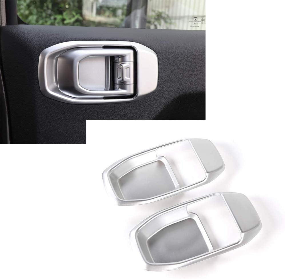 JeCar Car Inner Door Bowl Decoration Frame Door Handle Grab Bowl Cover Trim ABS Door Wrist Trim Inner Interior Accessories for Jeep Wrangler JL 2018 4Drs Silver