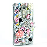 STENES LG G Stylo 2 Plus/LG Stylus 2 Plus Case - [Luxurious Series] 3D Handmade Shiny Crystal Bling Case With Retro Bowknot Anti Dust Plug - Silver Crown Flowers/Pink&White