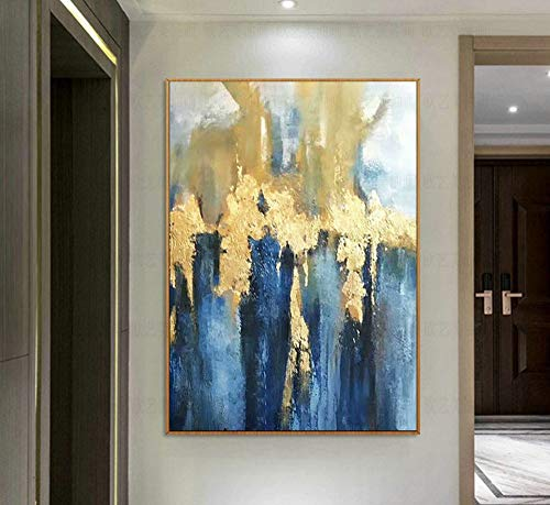100% Hand-Painted Oil Paintings,Landscape Style, Nordic Gold Foil Abstract Blue White, Painting On Canvas Art, Large Size Home Decor Wall Art, For Bedroom Living Room Bedside Restaurant Painting Witho